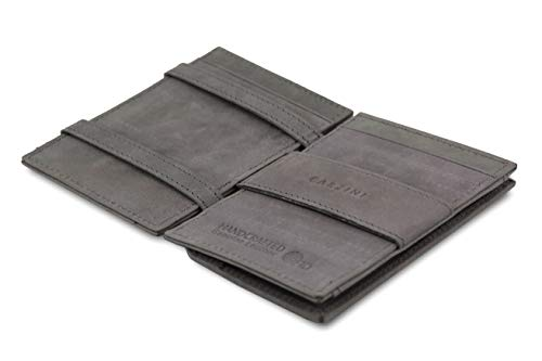 Garzini Dünner Minimalistischer Magischer Geldbeutel aus echtem Leder mit RFID-Blocker und Münzfach für Männer,Metal Grey