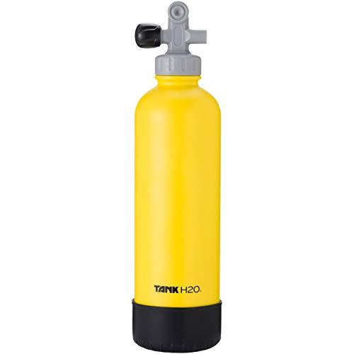 TankH2O Scuba Tanque de vacío Botella con Material Aislante de Agua: el Gran Regalo y Accesorios para los buceadores   Sostiene 700 ml   Cap BPA, Silicona Arranque (Amarillo)