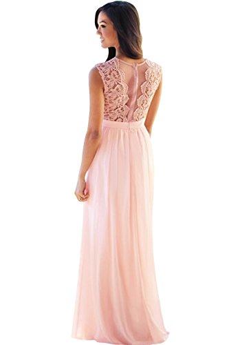 Babyonline Damen Kleid Festliche Kleider Brautjungfer Hochzeit Cocktailkleid Chiffon Faltenrock Elegant Langes Abendkleid, Rosa, 38
