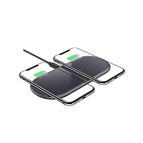 QXIAO Cargador Inalámbrico Rápido Dual,Almohadilla de Carga Inalámbrica 2 en 1 de 15 W Máx. de 2 Bobinas con iPhone 12 Pro MAX / 12 Mini / 11 Pro MAX/XR/XS MAX/X, Galaxy Note 20 / S20 / Note 10 / S10