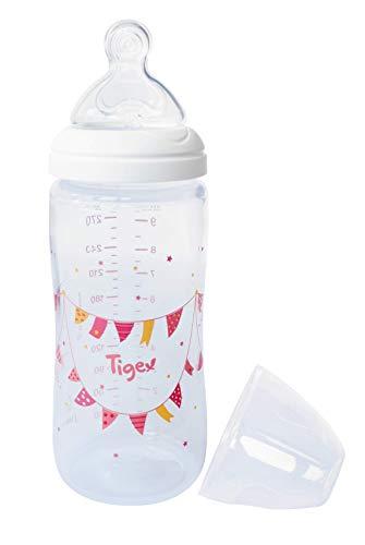 Tigex 84000061 - Biberón para niñas de segunda edad, silicona Multiflow, 300 ml, diseño color rosa