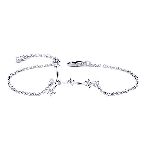 BOCHOI Constellations Silver Cancer Zodiac Sign Bracelet for Women Girls Bracelet Astrology Horoscope CZ Jewelry for Mother Daughter BFF Bridesmaid Birthday Gift Adjustable Chain 7+1'