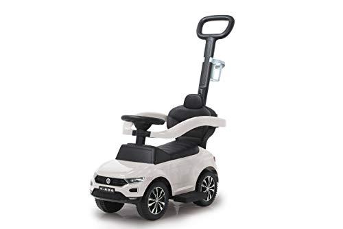 Jamara 460463-Correpasillo VW T-Roc 3en1 Antivuelco, Sonidos, Protección Lateral, Soporte con función de dirección, Portavasos, Apoyapiés Extensible, Color Blanco (460463)