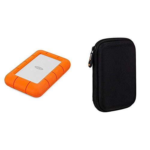 LaCie Rugged Mini, 4 TB, tragbare Externe Festplatte, 2.5 Zoll, USB 3.0, Mac & PC, Modellnr.: LAC9000633 & Amazon Basics Schutzhülle für Externe Festplatten