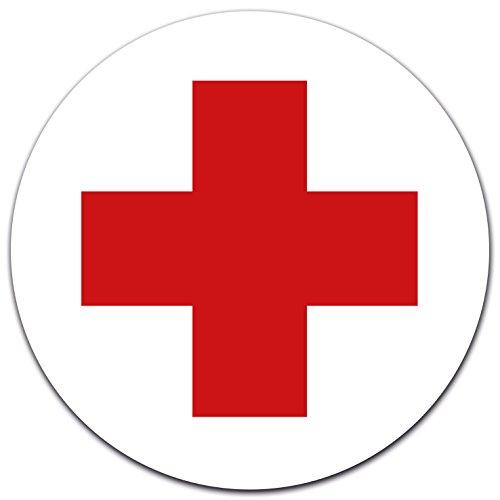 Aufkleber DRK Rotes Kreuz Ø 12 cm für Verbandskasten, Ersthelfer-Ausrüstung oder Medizinschrank, Erste Hilfe, mit UV-Schutzlaminat