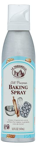 La Tourangelle, All Purpose Baking Spray, Gluten-Free, Non-Stick, Chemical Free and Propellant Free, Expeller-Pressed Cooking and Baking Spray Oil, 5 fl oz