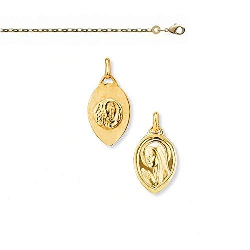 Collar con colgante de medalla Virgen María de oro amarillo GF 750*