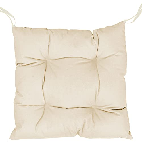 Pack de Cojines Almohadillas para sillas Tamaño 40 x 40 cm Ideal para sillas de Cocina, Comedor, Terraza. Vódas y Blandas con Tiras de sujeción. Fabricadas en España (Beige, Pack 2 Unidades)