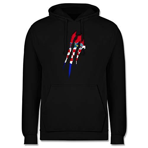 Shirtracer Länder - Kroatien Krallenspuren - 5XL - Schwarz - Football Jacke - JH001 - Herren Hoodie und Kapuzenpullover für Männer