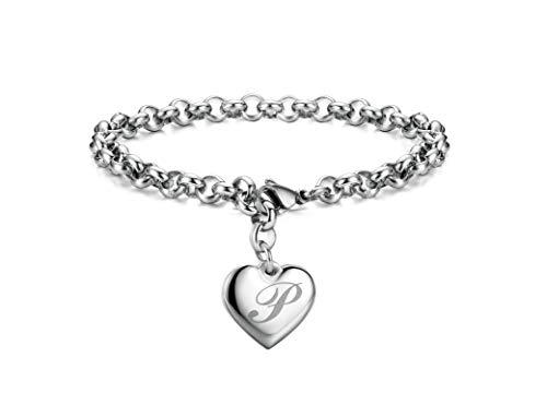 Initial Charm Bracelets Stainless Steel Heart Letters P Alphabet Bracelet for Women