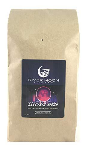 River Moon Coffee, Electric Moon High Caffeine Coffee, Whole Beans, 2 lbs., Bold, Medium Dark Roast, Arabica and Robusta Beans