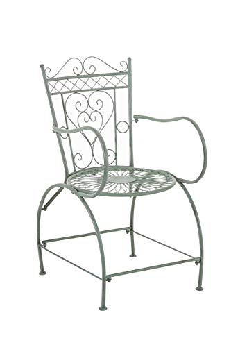 Chaise de Jardin en Fer Forgé Sheela - Design Romantique avec Dossier Accoudoirs et Repose-Pieds - Chaise de Terrasse en Fer avec de Belles, Couleurs:Antique-Vert