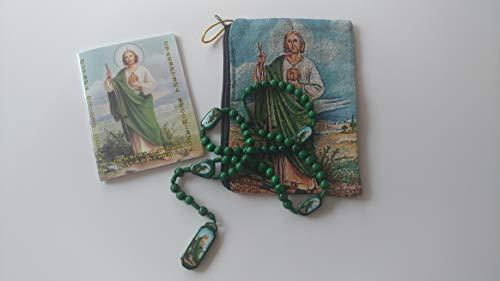 Regalo De San Judas Tadeo Con Bolsita,Rezos Y Rosario De Madera