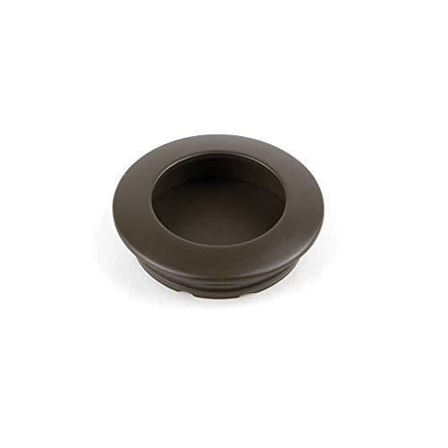 EMUCA - Tirador Empotrado Circular Ø41mm para Muebles, Tirador uñero para cajones y armarios, Color Moka