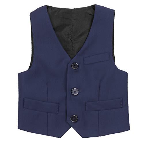 TiaoBug Anzug-Weste schwarz/blau- Gr.98-152 Kinder Jungen Weste Smoking Anzug Anzugweste festlich Marineblau 116-122