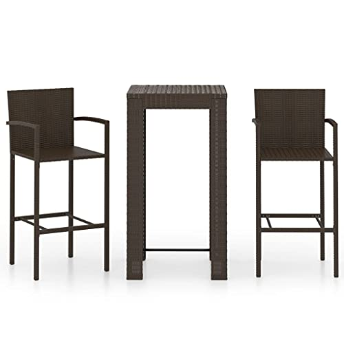 vidaXL Juego de muebles de jardín de 3 piezas con reposabrazos, mostrador, mesa de bar, mesa alta, taburete de bar, taburete de bar, muebles de jardín de polirratán, color marrón