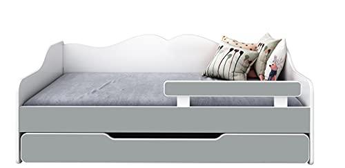 BDW Cama infantil con 2 superficies de descanso y 2 colchones de 140 x 70 cm, color gris