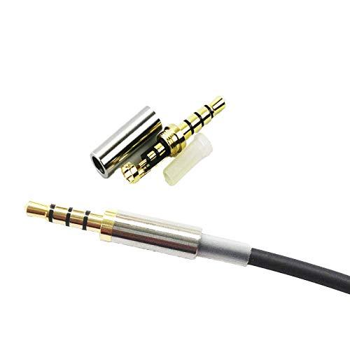 Prise jack mâle KetDirect Gold 4 - Pour réparation d'écouteurs - 3,5 mm - Jack métallique à souder et ressort