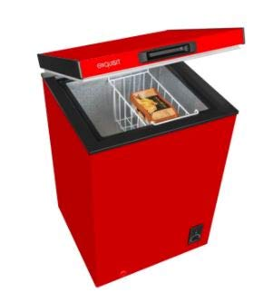 Exquisit Gefriertruhe Rot | 4-Sterne Gefrierraum | 98 Liter Nutzinhalt | Temperaturregelung & Herausnehmbarer Hängekorb | EEK A+ | Rollen Rechts für leichtes Umstellen