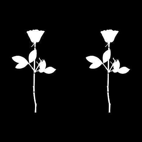 Greenit Rose 10cm Auto Fenster Spiegel Aufkleber Tattoo Die Cut Decals Vinyl Selbstklebende Deko Folie Depeche Mode 2 Stück Weiß Auto