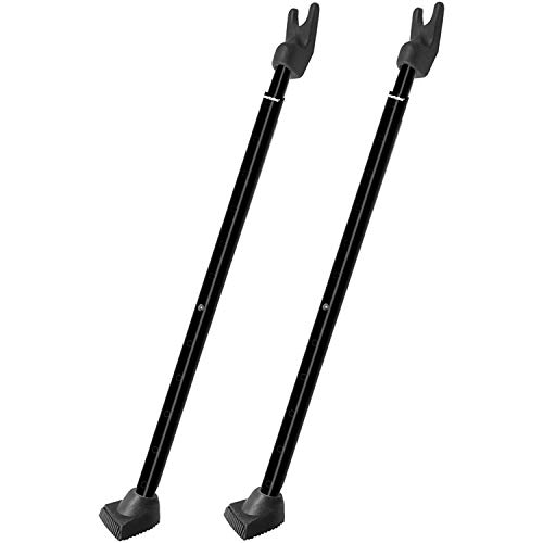 Securityman 2-in-1 Door Security Bar & Sliding Patio Door Security Bar (2 Pack) via Interchangeable Caps - Constructed of High Grade Iron - Black