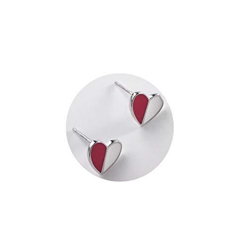 AnazoZ Pendientes Plata de Ley 925 Mujer Pendientes Dos Colores Corazón Pendiente Mujer