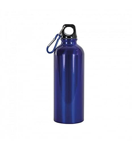 Botella térmica con mosquetón, 500 ml, botella de agua de aluminio, color azul lacado, para escuela, deportes, al aire libre, gimnasio, viajes, tiempo libre