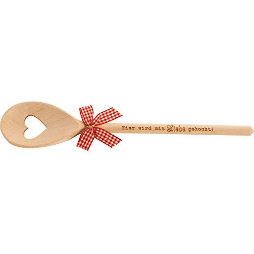 Spruchreif PREMIUM QUALITÄT 100% EMOTIONAL Cuchara de cocina de madera con corazón y grabado · Regalo para la madre · Padre · Cumpleaños · Boda · Cocina hobby (Hier se cuece con amor)
