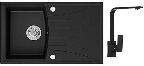 Küchenspüle Schwarz 77 x 47 cm, Spülbecken + Wasserhahn Küche + Siphon, Granitspüle ab 45er Unterschrank in 5 Farben mit Armatur Varianten, Einbauspüle von Primagran