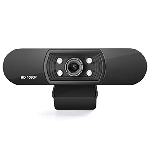 LUCKYGBY Cámara Web, Webcam videoconferencias y grabaciones de vídeo Full HD 1080p con micrófonos estéreo, PC giratoria con 3 Luces LED Compatibile con Windows, Mac