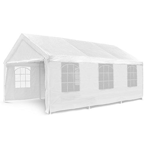 Nexos Hochwertiges Festzelt Partyzelt Pavillon 4x6 m weiß mit Seitenteilen für Garten als Unterstand Plane wasserdicht PE Dach 180 g/m² Stahlrohre