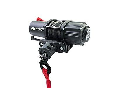 SuperATV Electric 12V 3500 lb Black Ops UTV / ATV Winch Kit | Includes 50 ft. Synthetic Rope - Wireless Remote - Aluminum Hawse Fairlead - Plus More
