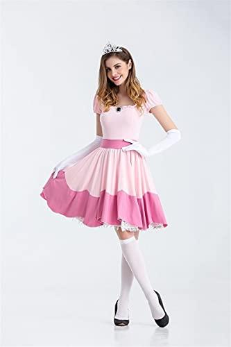 TSUSF Disfraz De Princesa Peach para Fiesta De Halloween,Vestido Rosa,Uniforme De Juego De rol,Disfraz De Fantasa para Mujer,Disfraz De Carnaval para Mujeres Adultas (Color : Pink, Size : S)