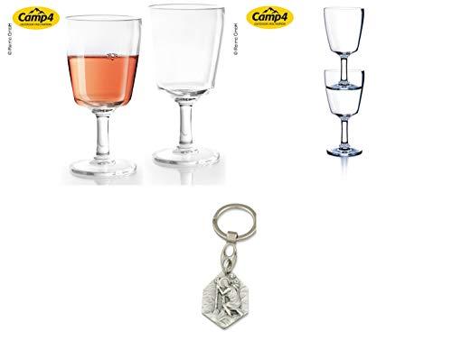 Zisa-Kombi Plastik-Weinglas aus SAN, 2er Set, 260 ml Volumen (932988929178) mit Anhänger Herz Jesu 2,5cm