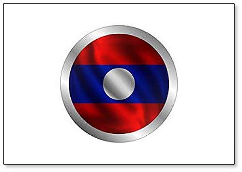 Kühlschrankmagnet, Motiv Wavende Laos Flagge, r&e Form
