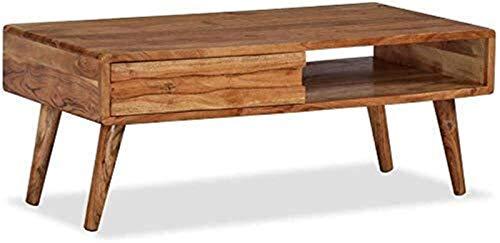 Mesas de café, Mesas de la cabecera de madera de acacia maciza Mesas de la cama del extremo lateral Mesa de té rectangular Mesa de té Piso de pie TV TV Soporte con cajón tallado para salón Dormitorio