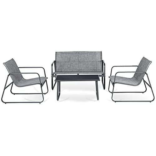 Sekey Gartenlounge Gartenmöbel Set 4 Personen, Balkonmöbel Set Textilene für Terrasse Balkon Innen- und Außenbereich, Hellgrau