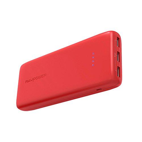 RAVPOWER Baterias Externa 22000mAh Rapida 3 Puertos USB Salida, Power Bank, Resistente al Fuego Cargador Portátil, para iPhone, Samsung, Huawei Smartphone Tablet Rojo