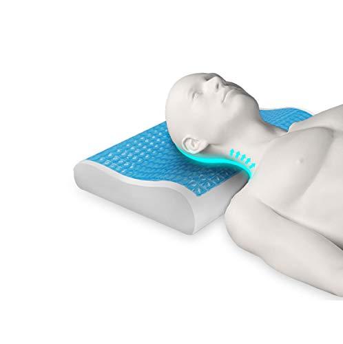 Almohada Cervical Viscoelástica de Gel con Espuma de Memoria Previene dolor de Espalda y Cuello | Cojín Flex Visco Firme y Suave para Dormir con Funda Antiácaros y Antibacterial Transpirable y Lavable