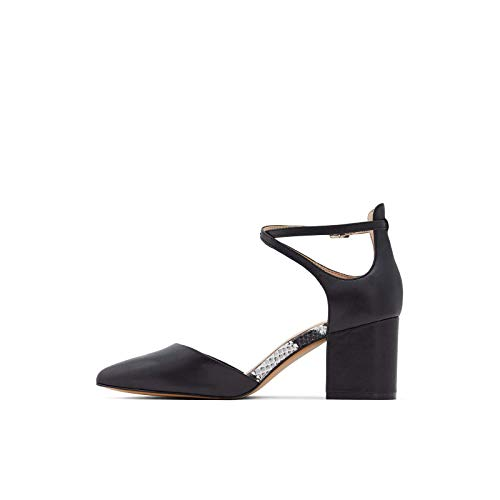 ALDO Women's Brookshear Block Heel Pump, Black Smooth, 8