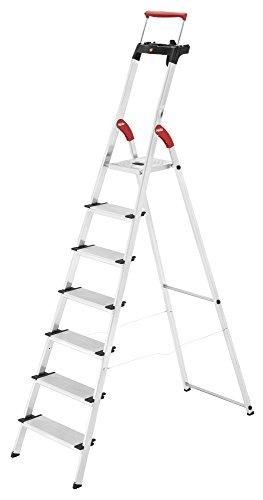 Hailo XXR ComfortLine Alu Stehleiter (7 XXL-Stufen, EasyClix, Ablageschale, ausziehbarer Haltebügel, bis 150 kg) 8030-707