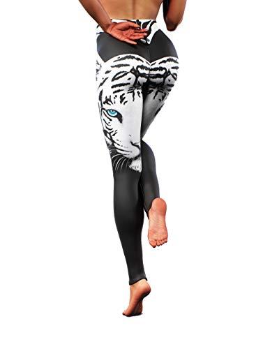 Booty Sculpted Leggings de tigre blanco | Pantalones de entrenamiento para carnaval para mujer