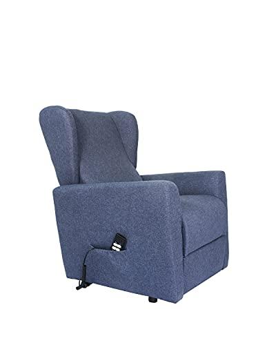 POLTRONE ITALIA - Poltrona elevabile elettrica 2mot reclinazioni indip. seduta micromolle, assemblata anziani relax sicurezza CE Medicale DETRAIBILE 19% - Poltrona-Isabel-2M-TEBLU Blu notte tessuto