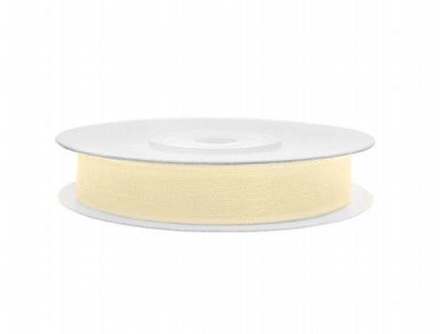 SiDeSo® Chiffonband 25m x 6mm viele Farben Hochzeit Organza Dekoband Geschenkband Antennenband Schleifenband (Creme)