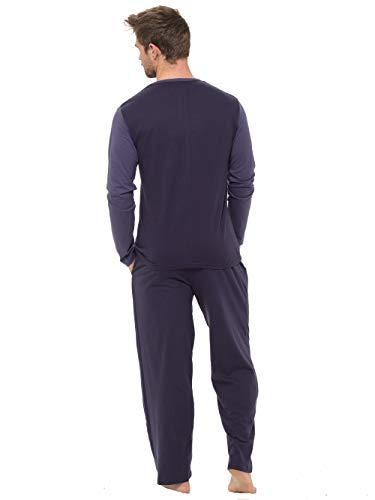 INSIGNIA Mens Pyjama Set Long Sleeve Top & Pants Cotton Pjs, Blue,Navy_midblue, XL