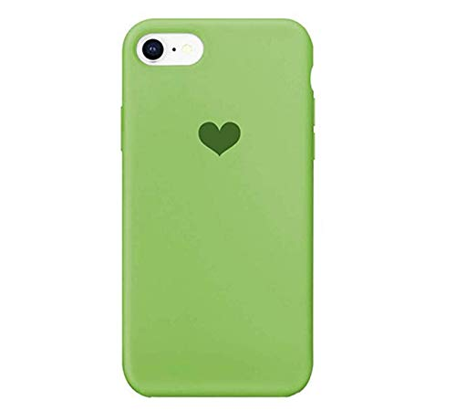 Funda compatible con iPhone 7, carcasa de silicona líquida antigolpes, diseño de corazón con forma de corazón (iPhone 7/8, verde)