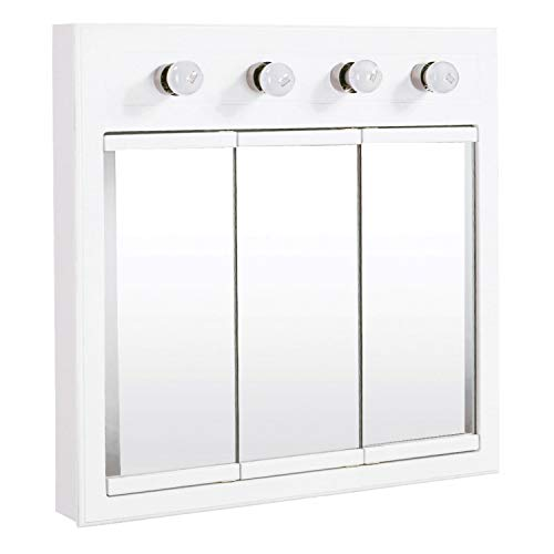 Design House 532382 Concord Lighted Tri-View Mirrored Medicine Cabinet, White, 30'
