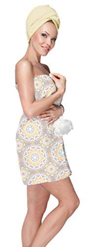 Blue Star Clothing Women's 3 Piece Bath Body Plush Shower Towel Wrap Spa Set | Bath Body Towel Wrap with Adjustable Fastener, Hair Towel Twist, Loofah/Bath Body Sponge
