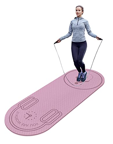 """LERYG Jump Rope Mat 72"""" x 27"""" x 8mm Knees Protection Impact Absorption Durable Anti-slip Skipping Mat for Home Indoor Workout, High Density Jump Ropes Longevity Portable Exercise Mat in Pink"""
