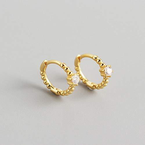 Earrings Women Studs 925 Sterling Silver Hoop Earrings For Women Simple Cute Crystal Round Circle Silver Earrings Jewelry-8Mm_Gold